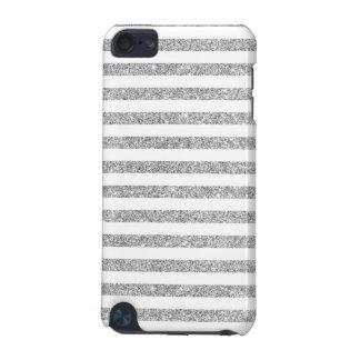 Elegant Faux Silver Glitter Stripe Pattern iPod Touch 5G Case