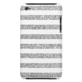 Elegant Faux Silver Glitter Stripe Pattern iPod Touch Covers