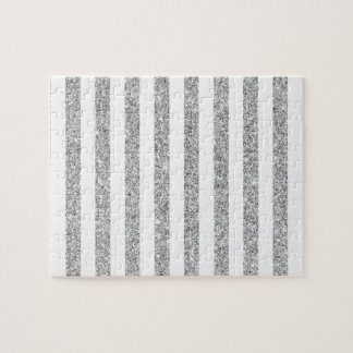Elegant Faux Silver Glitter Stripe Pattern Jigsaw Puzzle