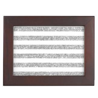 Elegant Faux Silver Glitter Stripe Pattern Keepsake Box