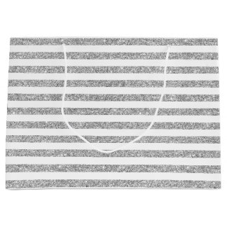 Elegant Faux Silver Glitter Stripe Pattern Large Gift Bag