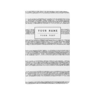 Elegant Faux Silver Glitter Stripe Pattern Large Moleskine Notebook