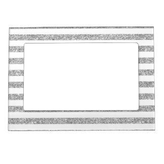 Elegant Faux Silver Glitter Stripe Pattern Magnetic Frame