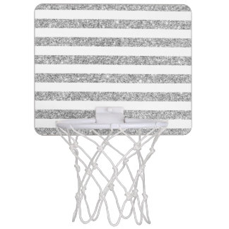 Elegant Faux Silver Glitter Stripe Pattern Mini Basketball Hoop