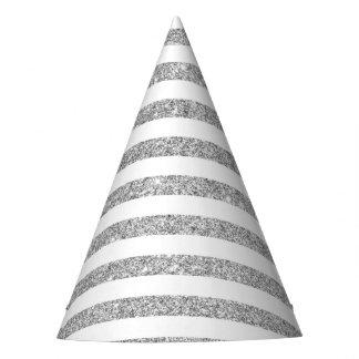 Elegant Faux Silver Glitter Stripe Pattern Party Hat