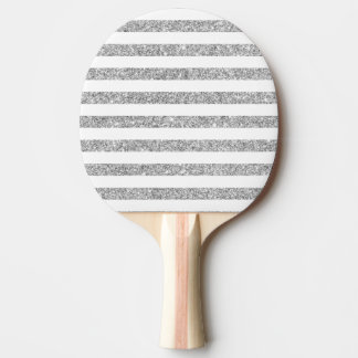 Elegant Faux Silver Glitter Stripe Pattern Ping Pong Paddle