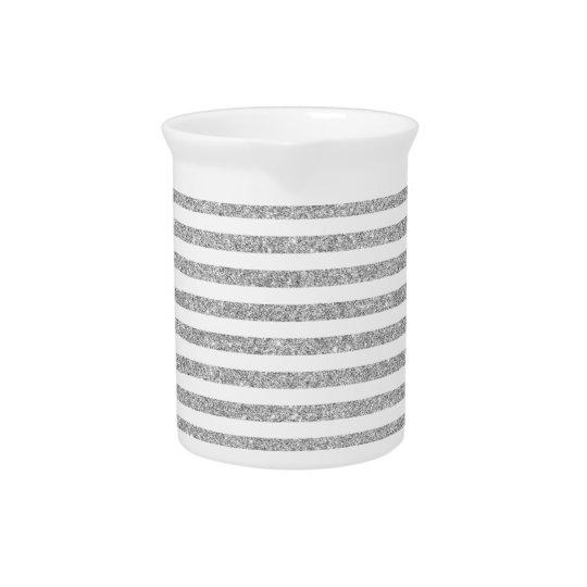 Elegant Faux Silver Glitter Stripe Pattern Pitcher