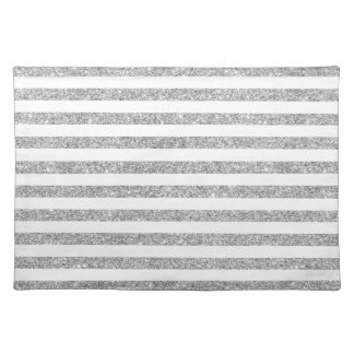 Elegant Faux Silver Glitter Stripe Pattern Placemat