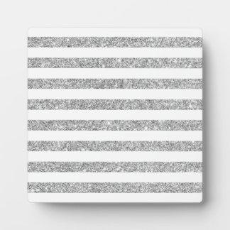Elegant Faux Silver Glitter Stripe Pattern Plaque