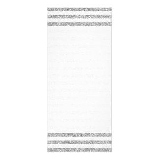 Elegant Faux Silver Glitter Stripe Pattern Rack Card