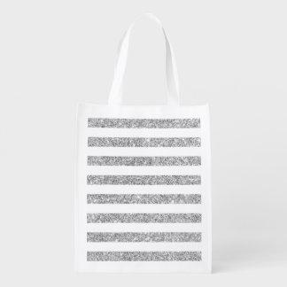 Elegant Faux Silver Glitter Stripe Pattern Reusable Grocery Bag