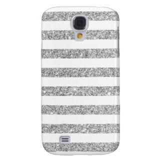 Elegant Faux Silver Glitter Stripe Pattern Samsung Galaxy S4 Covers