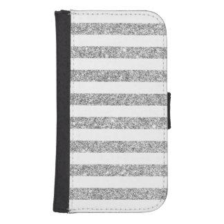 Elegant Faux Silver Glitter Stripe Pattern Samsung S4 Wallet Case