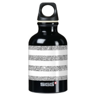 Elegant Faux Silver Glitter Stripe Pattern SIGG Traveller 0.3L Water Bottle