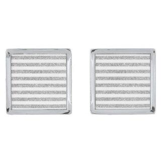 Elegant Faux Silver Glitter Stripe Pattern Silver Finish Cufflinks