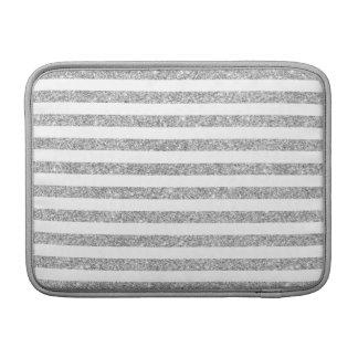 Elegant Faux Silver Glitter Stripe Pattern Sleeve For MacBook Air