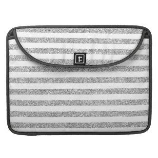 Elegant Faux Silver Glitter Stripe Pattern Sleeve For MacBooks