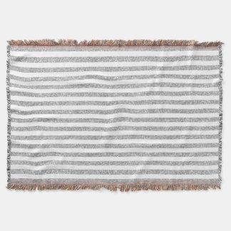 Elegant Faux Silver Glitter Stripe Pattern Throw Blanket