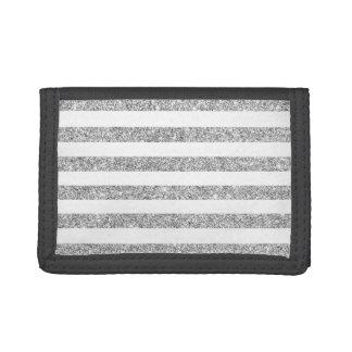 Elegant Faux Silver Glitter Stripe Pattern Tri-fold Wallets