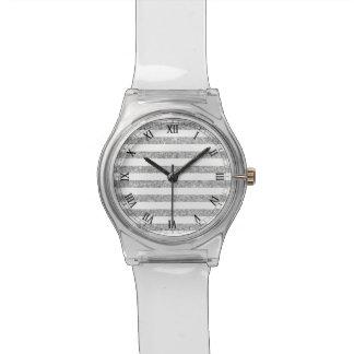 Elegant Faux Silver Glitter Stripe Pattern Watch