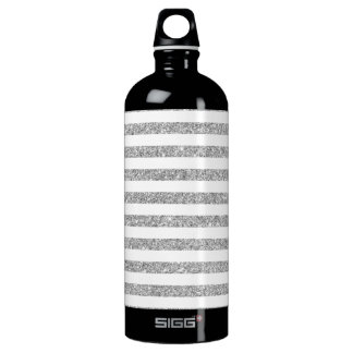 Elegant Faux Silver Glitter Stripe Pattern Water Bottle