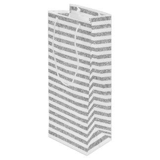 Elegant Faux Silver Glitter Stripe Pattern Wine Gift Bag