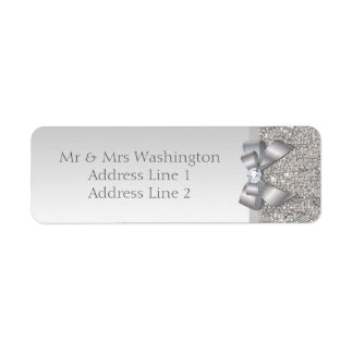 Elegant Faux Silver Sequins Bow and Diamond Return Address Label