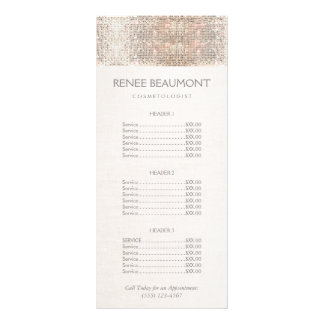 Elegant Faux Silver Sequins Salon Price List Menu