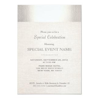 Elegant Faux Silver Striped Beige Linen Look Card