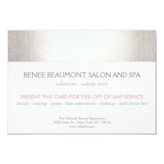 Elegant Faux Silver Striped Salon & Spa Referral 2 9 Cm X 13 Cm Invitation Card