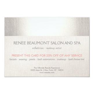 Elegant Faux Silver Striped Salon & Spa Referral 9 Cm X 13 Cm Invitation Card