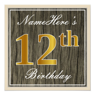 Elegant, Faux Wood, Faux Gold 12th Birthday + Name Card
