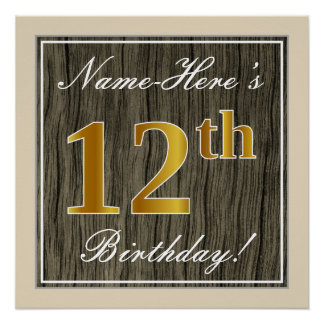 Elegant, Faux Wood, Faux Gold 12th Birthday + Name Poster