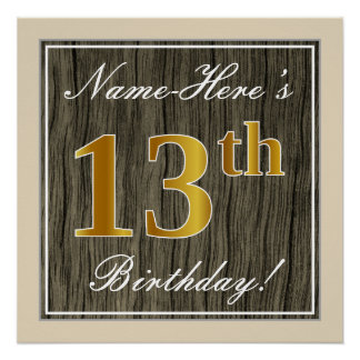 Elegant, Faux Wood, Faux Gold 13th Birthday + Name Poster
