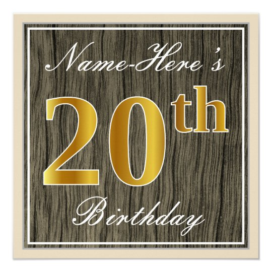 Elegant, Faux Wood, Faux Gold 20th Birthday + Name Card