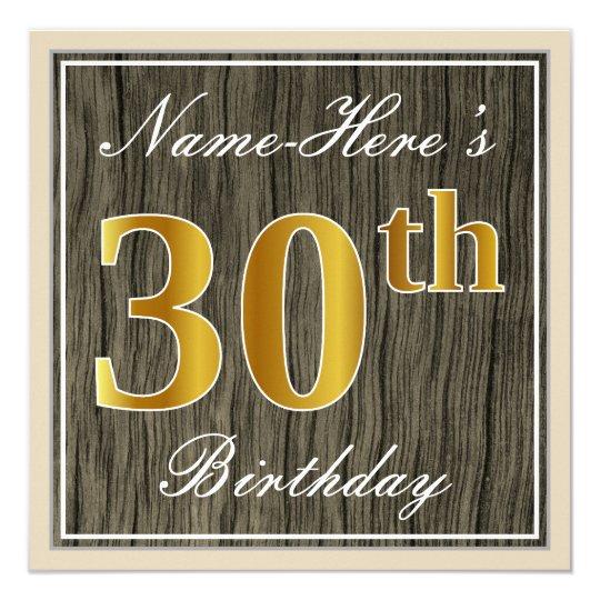 Elegant, Faux Wood, Faux Gold 30th Birthday + Name Card