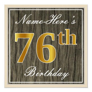 Elegant, Faux Wood, Faux Gold 76th Birthday + Name Card