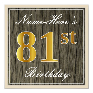 Elegant, Faux Wood, Faux Gold 81st Birthday + Name Card