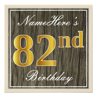 Elegant, Faux Wood, Faux Gold 82nd Birthday + Name Card