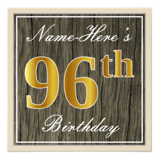 Elegant, Faux Wood, Faux Gold 96th Birthday + Name Card