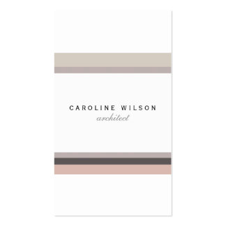 Elegant feminine minimalist modern white pink line pack of standard business cards