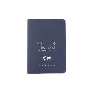elegant feminine Mrs. navy-blue travel Passport Holder