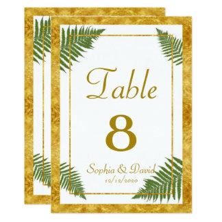 Elegant Fern Leaves Gold Foil Wedding TABLE NUMBER Card