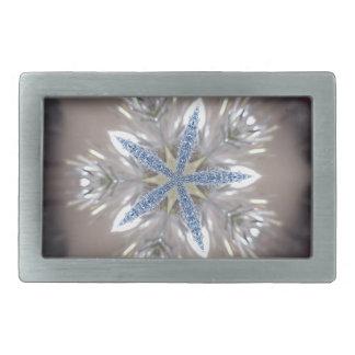 Elegant Festive Christmas Star Shiny Blue White Belt Buckles