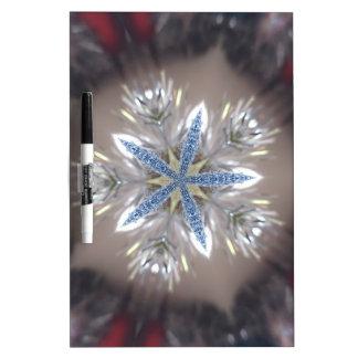 Elegant Festive Christmas Star Shiny Blue White Dry Erase Board