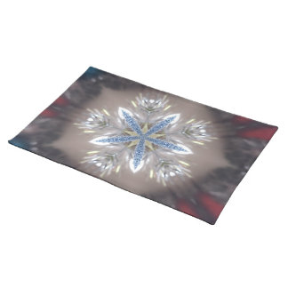Elegant Festive Christmas Star Shiny Blue White Placemat