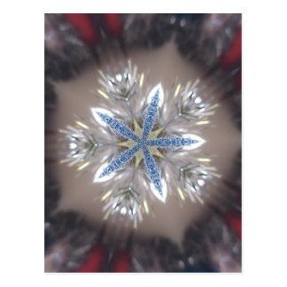 Elegant Festive Christmas Star Shiny Blue White Postcard