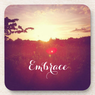 Elegant Field Sunset With Lens Flare & Custom Text Coaster