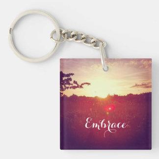 Elegant Field Sunset With Lens Flare & Custom Text Key Ring