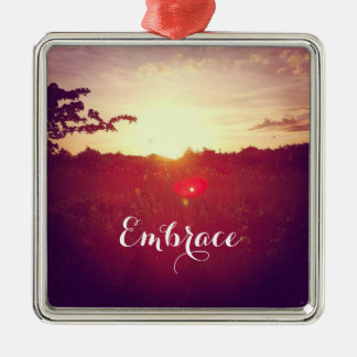 Elegant Field Sunset With Lens Flare & Custom Text Metal Ornament